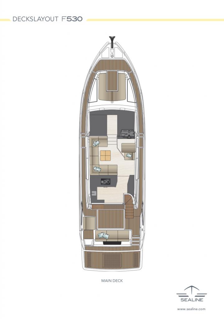 Sealine Motor boat F530 Layout Main Deck