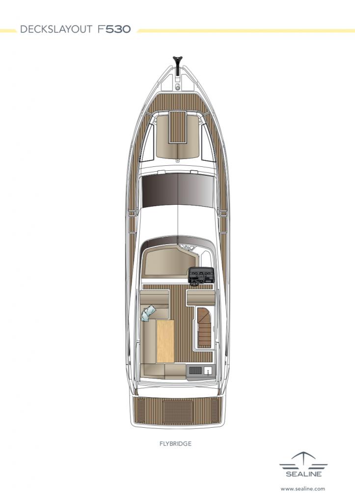 motor boat sealine F530 layout flybridge