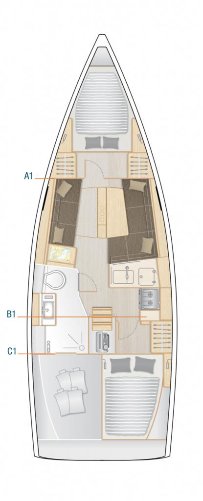 Hanse 348 Interior Layout